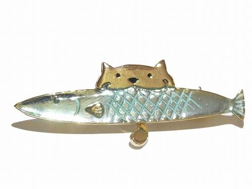 ネコ魚 ブローチ 【 cuir carameliser / クイール キャラメリゼ 】