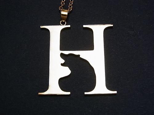 kakurenbo H×クマ ネックレス 【Tiny tail /タイニーテイル】 イニシャル 真鍮 アクセサリー