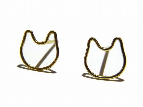 金色の輪郭 ねこピアス 【Tiny tail タイニーテイル】真鍮 アクセサリー