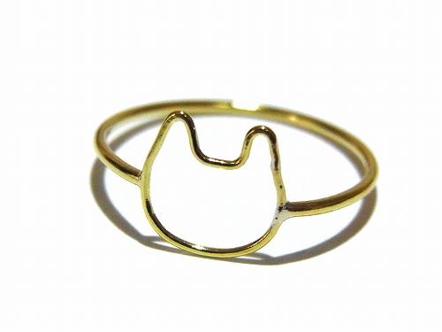 金色の輪郭 ねこリング (10号)【Tiny tail タイニーテイル】真鍮 アクセサリー