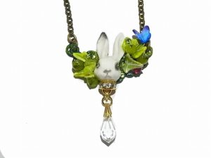 ウサギのネックレス 森のときめき ~兔編~ 【Wadou-koubou/和道工房】樹脂粘土 アクセサリー
