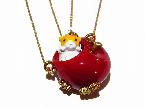 リンゴのおうち ネックレス 【 cuir carameliser クイール キャラメリゼ 】モルモット アクセサリー