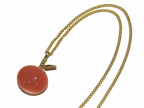 ガラスのりんご ネックレス(ピンク)【thuthu appetizing accessories/nupi】 ハンドメイド 真鍮 アクセサリー
