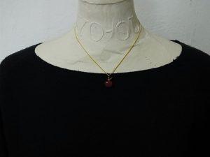 ガラスのりんご ネックレス(赤)【thuthu appetizing accessories/nupi】 ハンドメイド 真鍮 アクセサリー