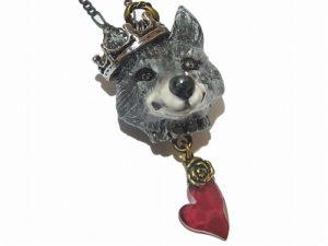 オオカミの載冠式 ネックレス (シルバー+スワロレッド)【Wadou-koubou/和道工房】