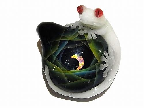 月夜と守宮 【 ケンタロー × ノーザンライツ 】 ヤモリ ガラス ペンダントトップ
