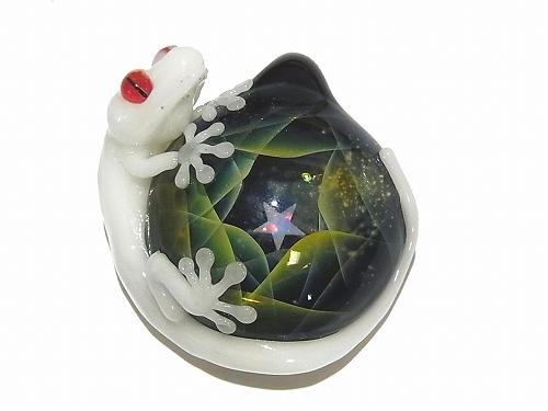 星空と守宮 弐 【 ケンタロー × ノーザンライツ 】 ヤモリ ガラス ペンダントトップ