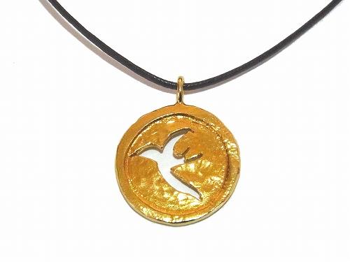 つばめ メダル コットン紐 ネックレス【thuthu appetizing accessories/nupi】 ハンドメイド 真鍮 アクセサリー