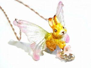 森の妖精 ネックレス (ピンク系) 【Wadou-koubou/和道工房】ボックス付き 樹脂粘土 アクセサリー
