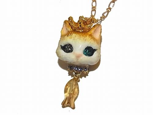 猫の戴冠式 ネックレス (B)【Wadou-koubou/和道工房】 ねこ アクセアリー